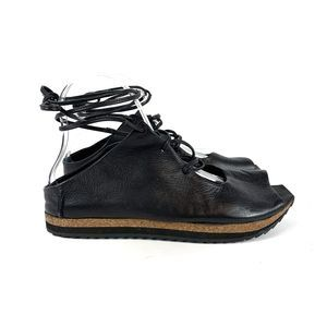 Free People Black Leather Ankle Strap Shoes